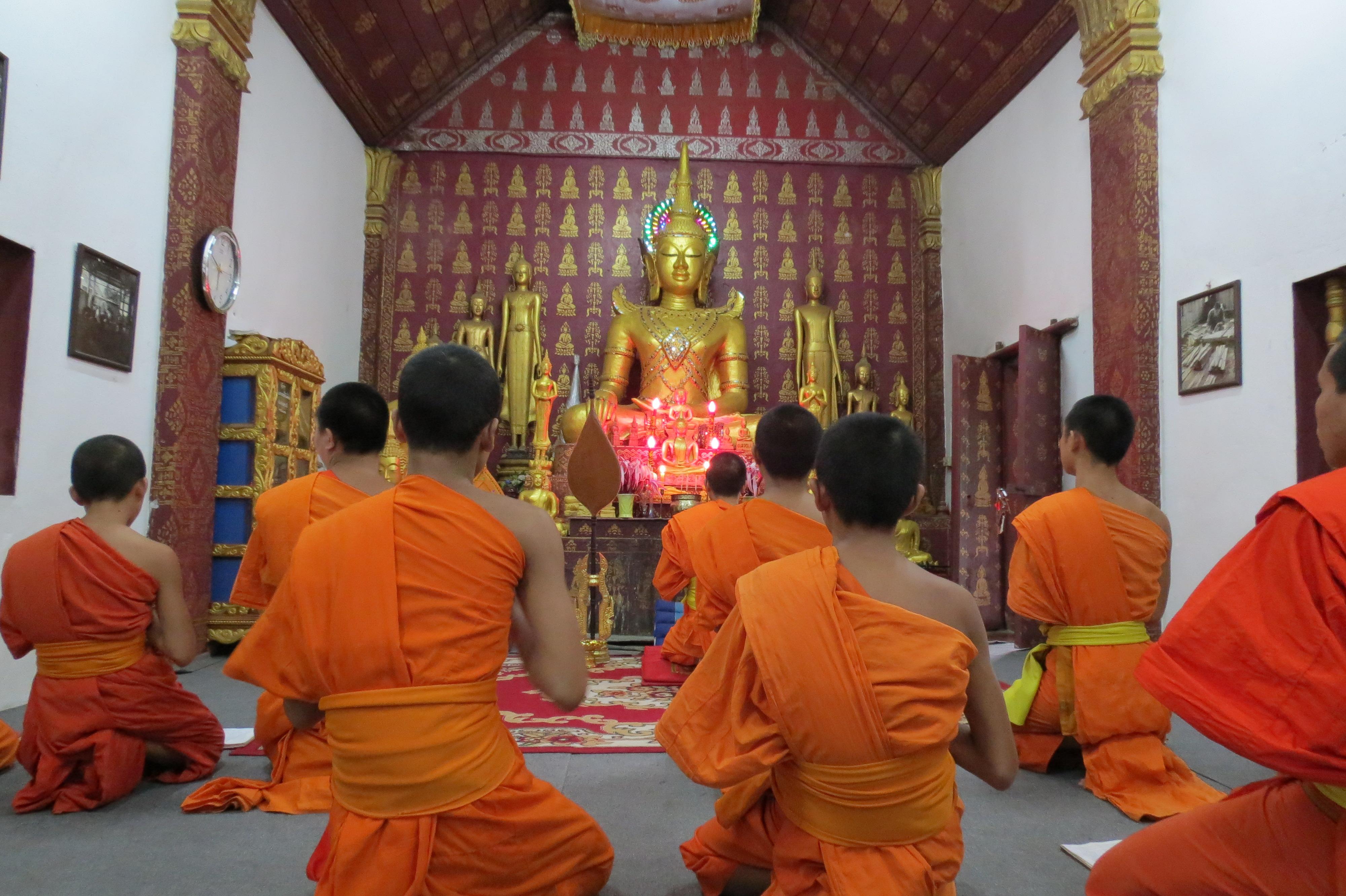 monjos meditant meditation Luang Prabang