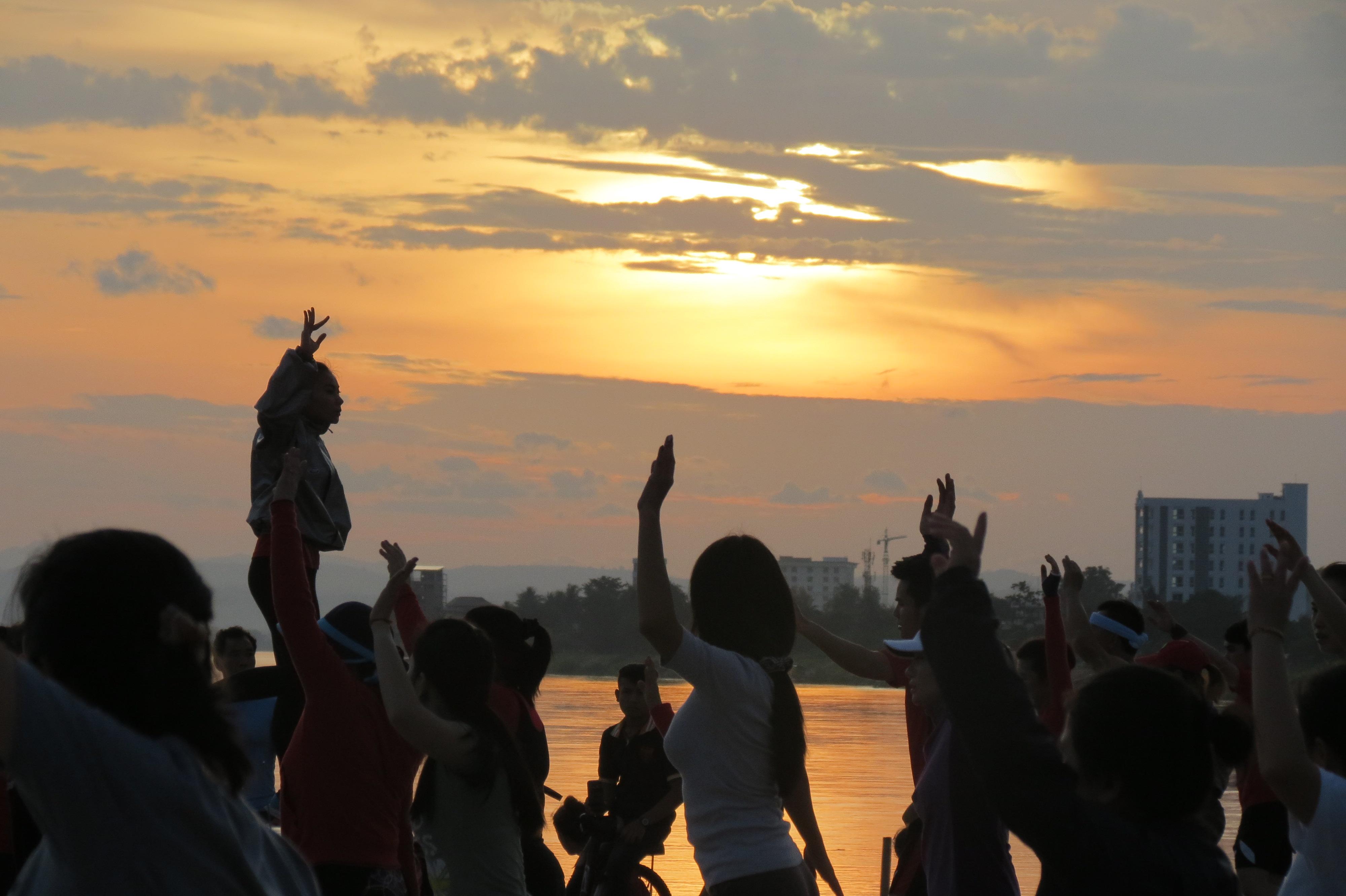 Laos dancing sunset